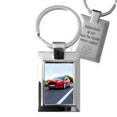 Porte-clés photo cadre rectangle métal off