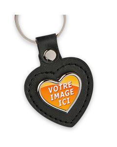 porte clés photo coeur cuir et métal