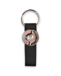 porte clés photo cuir et rond métal - off