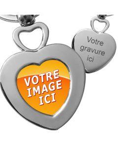 Porte-clés double cœur métal