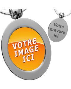 porte clés photo métal oval