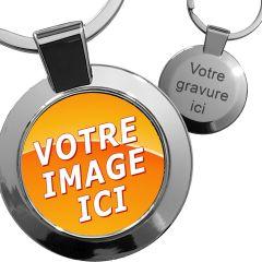Porte-clés photo métal rond 25mm