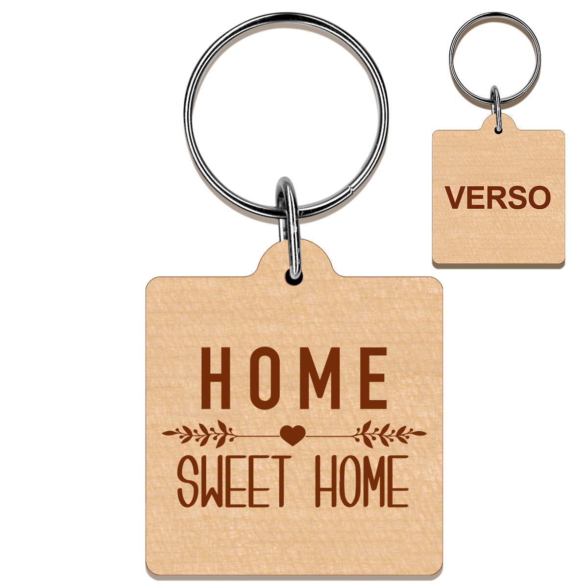 Porte clés bois gravé carré 40x40 mm