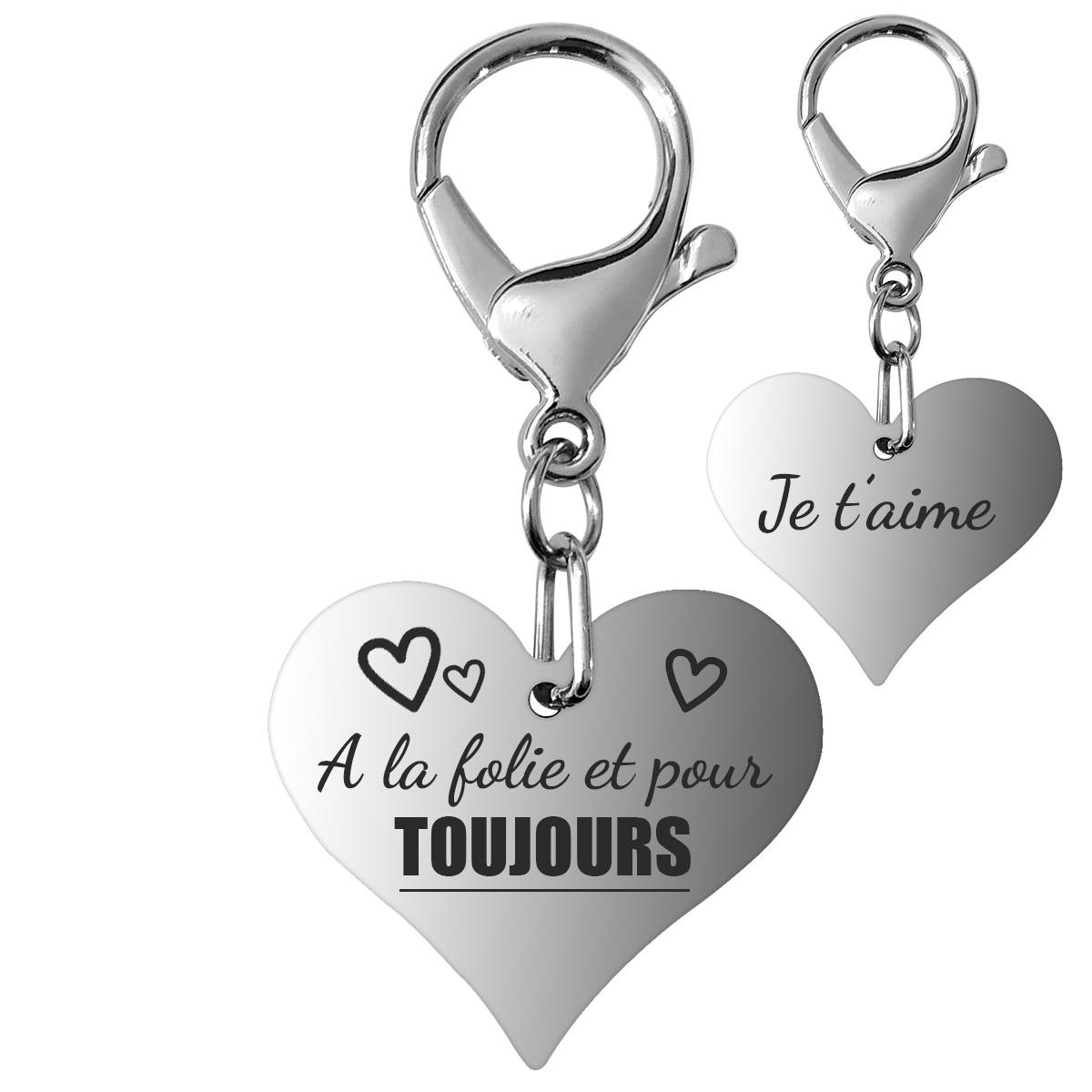 Porte-clés gravé coeur croque love