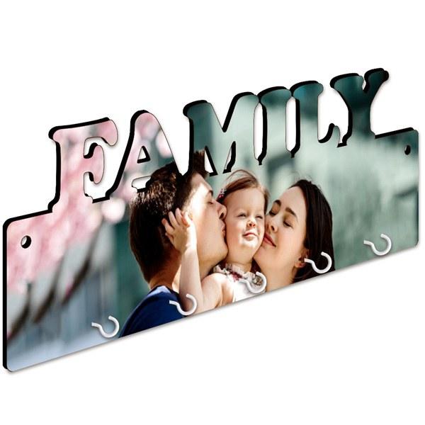 accroche-clés mural personnalisable photo famille