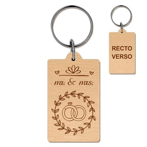 celebrer 5 ans de mariage cadeau personnalisé porte-clés gravé noce de bois