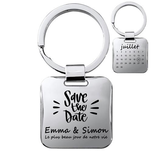 porte-clés gravé en argent brillant cadeau couple
