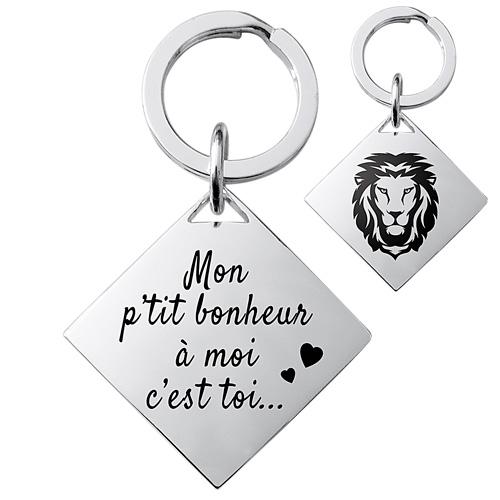 porte-clés carré argent brillant cadeau personnalisé homme
