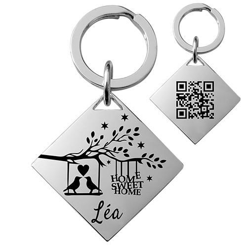 porte-clés personnalisé argent mat cadeau original