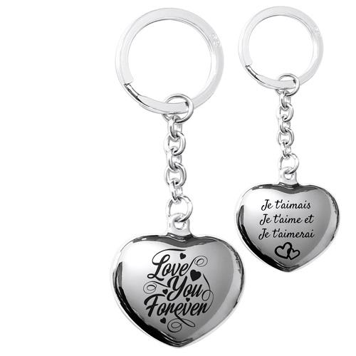 Porte-clés gravé coeur en argent message d'amour
