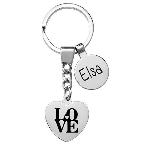 porte-clés gravé breloque coeur métal brillant cadeau amour