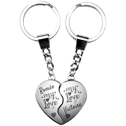 Porte-clés gravé duo coeur magnétiques  cadeau Saint-Valentin