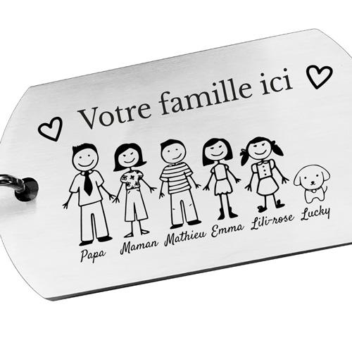 Porte-clés gravé personnalisé prénom famille