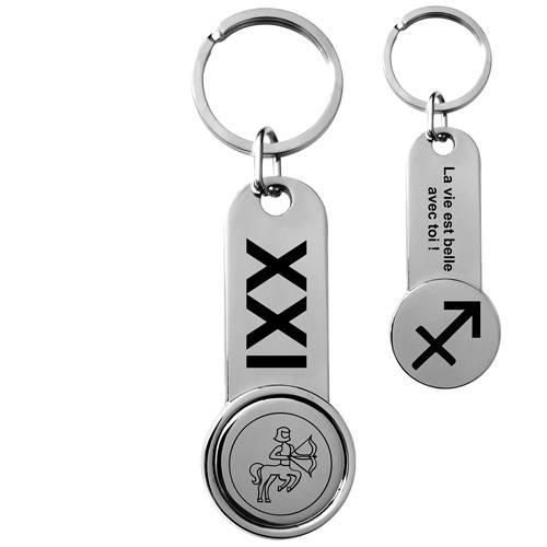 porte-clés personnalisé métal brillant jeton de caddie signes du zodiaque