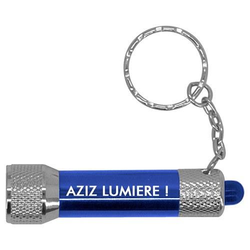 porte-clef lampe LED bleue personnalisé aziz lumiere cadeau fun