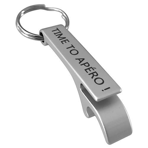 porte-clés decapsuleur gris gravé apero