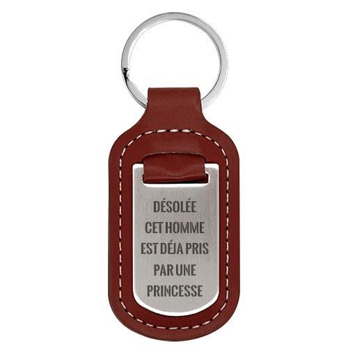 porte-clés en cuir marron personnalise message d'amour cadeau noce de bois