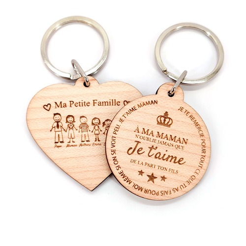 cadeau original et pas cher fête des mères porte-clés personnalisé bois