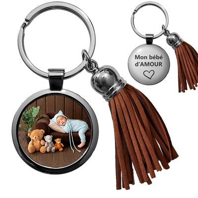 porte-clés metal gravure avec photo personnalisée bébé pompon cuir marron